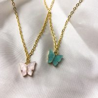 handmade pink and blue butterfly necklace